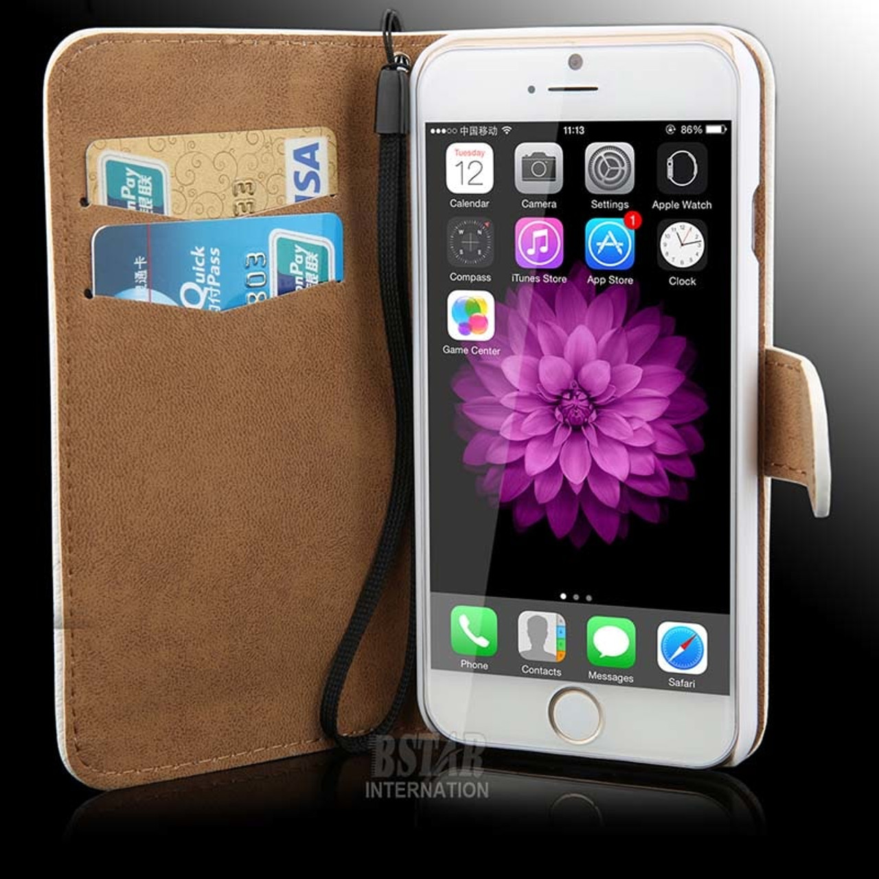 e9df9ccf8 ... Rhinestone Case For iPhone 6S Plus 5S Crystal Diamond Leather Wallet  Case For Samsung Galaxy S6 ...