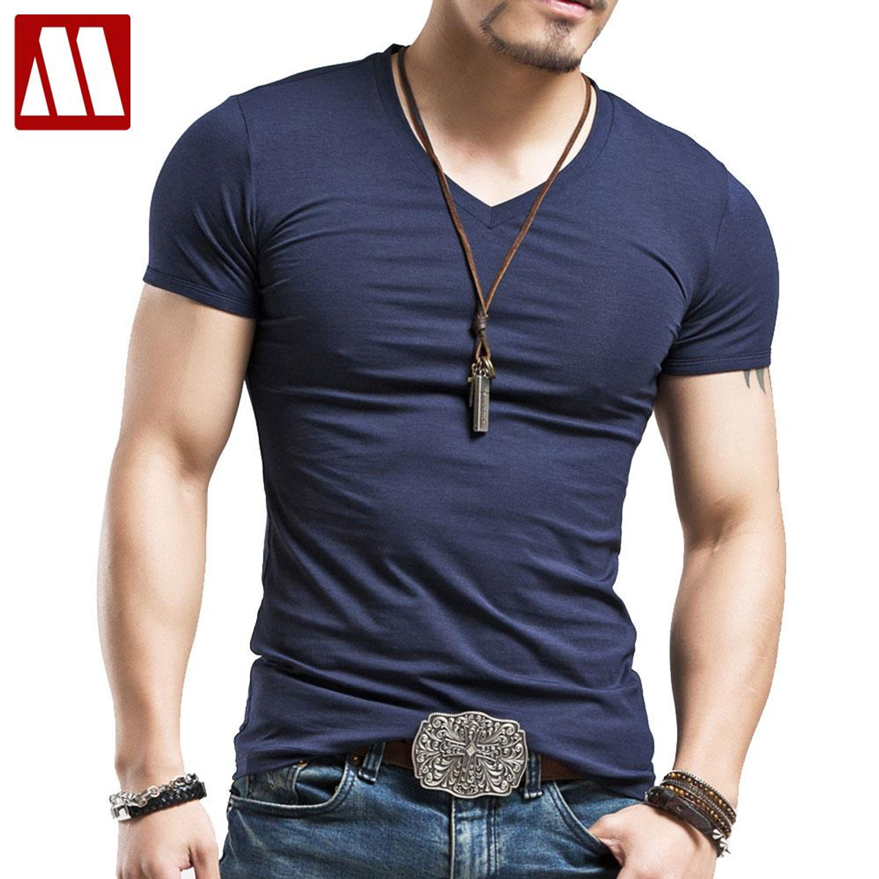 6053fbb37cf Men s Tops Tees 2018 summer new cotton v neck short sleeve t shirt men  fashion trends ...