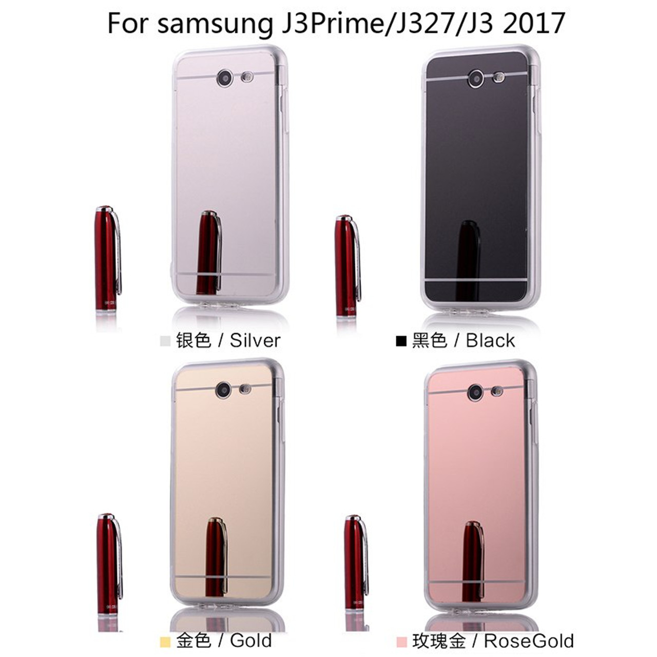 AKABEILA Cases For Samsung Galaxy J3 Prime J3 2017 US Amp Prime 2 Cover  Cell Phone Bags Housing Plating Mirror TPU Silicone Skin