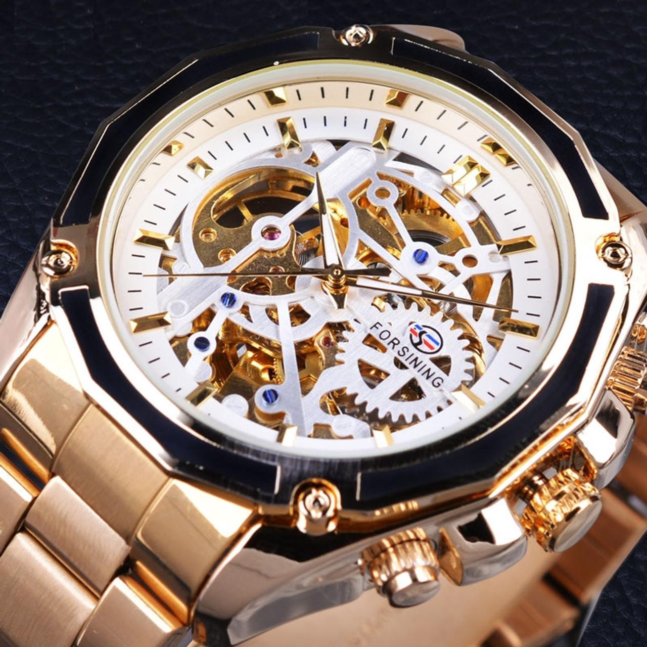 c032be57e45 Gold Watches Men Automatic Mechanical Skeleton Watch Men Steel Wristwatch  Male Clock Relogio Masculino ...