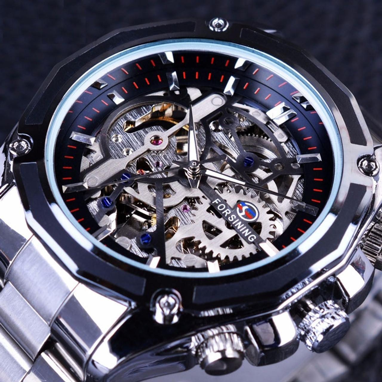 a01f6e9e4b8 ... Gold Watches Men Automatic Mechanical Skeleton Watch Men Steel  Wristwatch Male Clock Relogio Masculino ...
