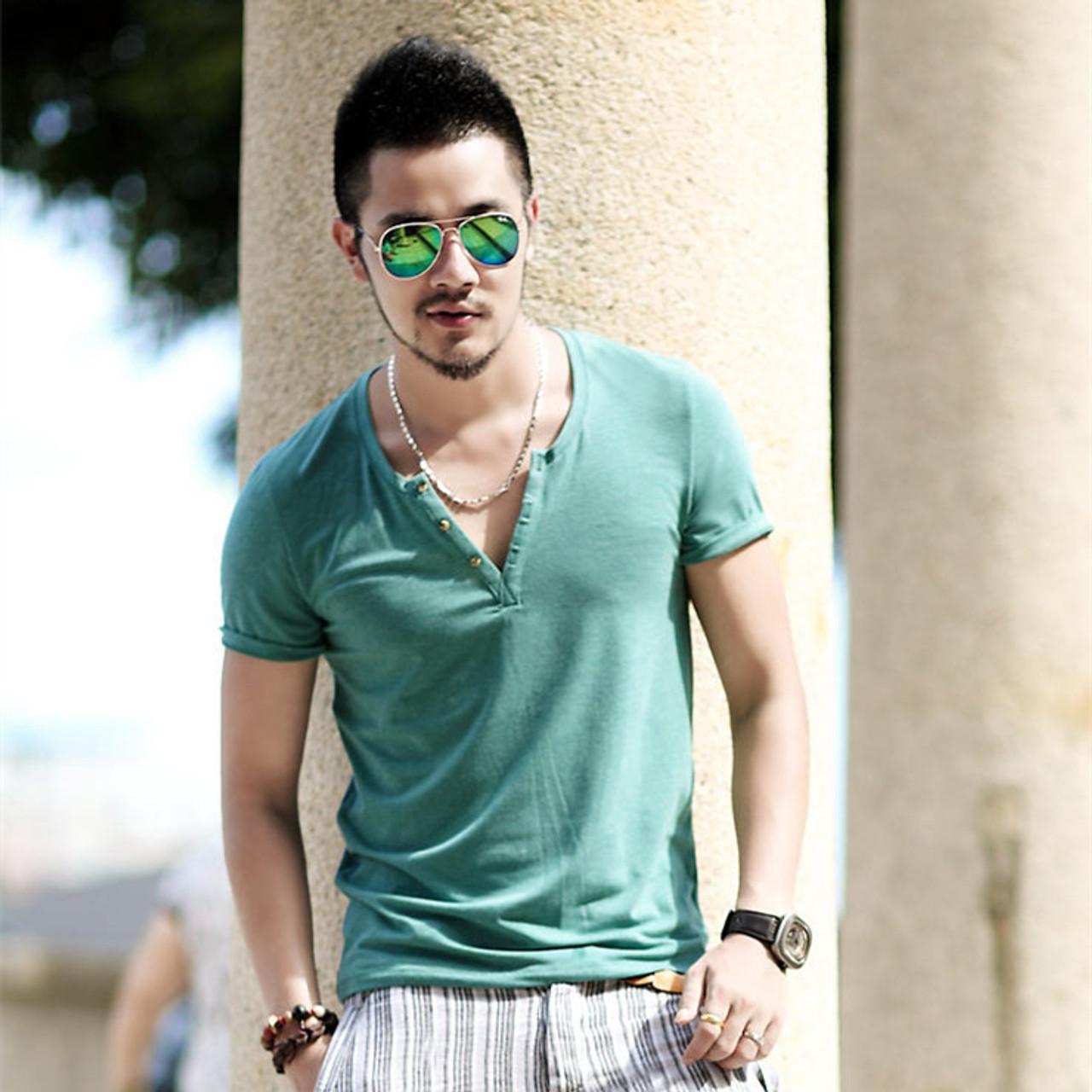 3e73df85227 ... Plus Size S - XXL mens t shirts fashion new casual short sleeve V neck  cotton ...