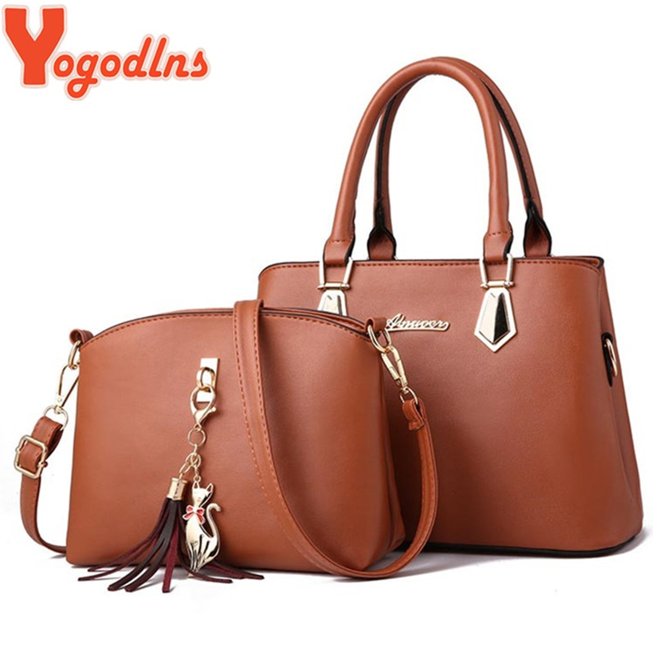 9fa693ac70ce Yogodlns New Luxury Women Bag 2 Pieces Set solid bag Fashion handbag  Shoulder Messenger bag PU Leather Composite Bag Women