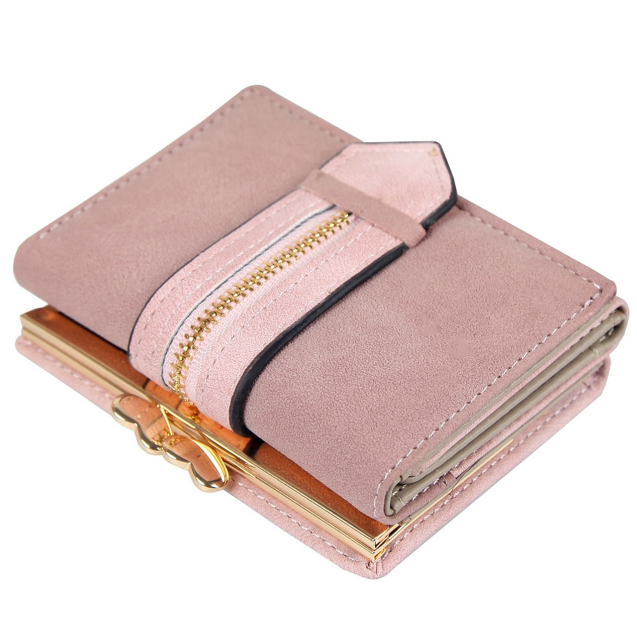 eda8a7a3701d Ladies Wallet Female Small Nubuck Leather Wallet Three Fold Drawstring Hasp  Clutch Money Bag Womens Wallets ...