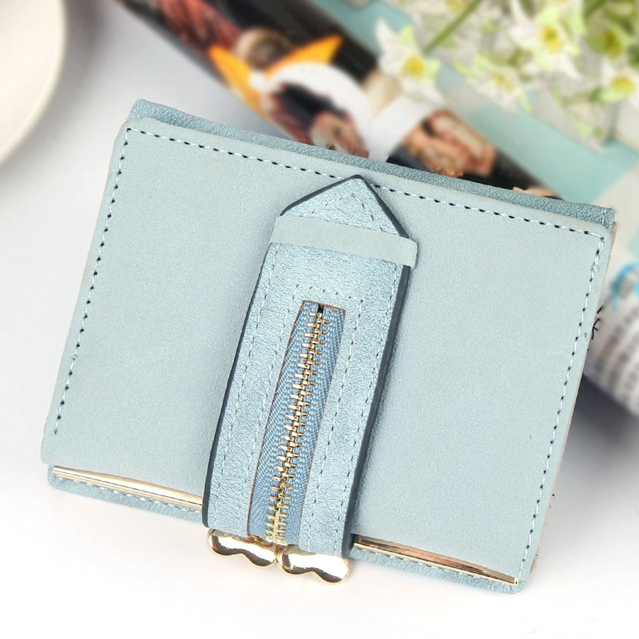 cb1a1e89cb4 ... Ladies Wallet Female Small Nubuck Leather Wallet Three Fold Drawstring  Hasp Clutch Money Bag Womens Wallets ...