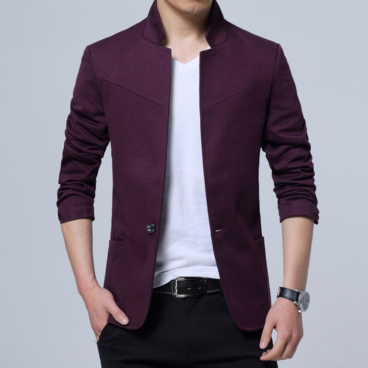 4ebad41c7e09 ... Liseaven Blazer Men Jackets Male Stand Collar Male Blazers Slim Fit  Mens Blazer black Jacket Men ...