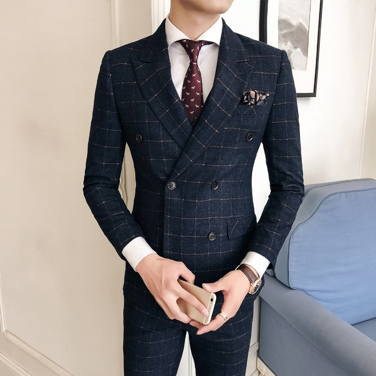 2fc467aadd Suit korean version of the self dressing casual wear trend fashion business  casual lattice double breasted