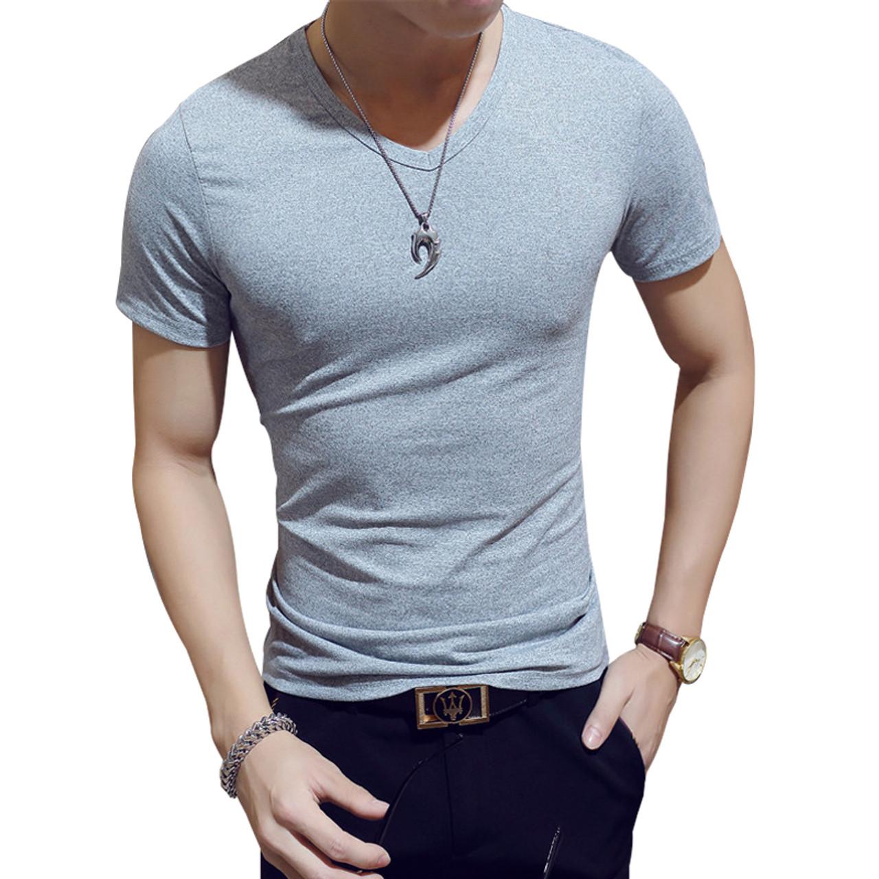 5be02400c7f ... Men s Tops Tees 2018 summer new cotton v neck short sleeve t shirt men  fashion trends ...