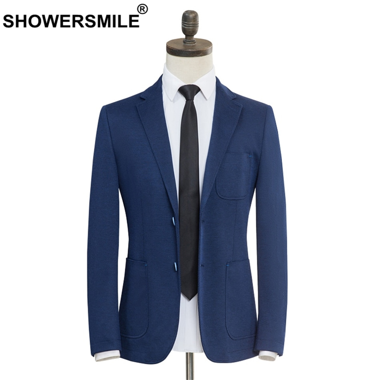 Showersmile Brand Smart Casual Blazer Men Slim Fit Blue Suit Jacket