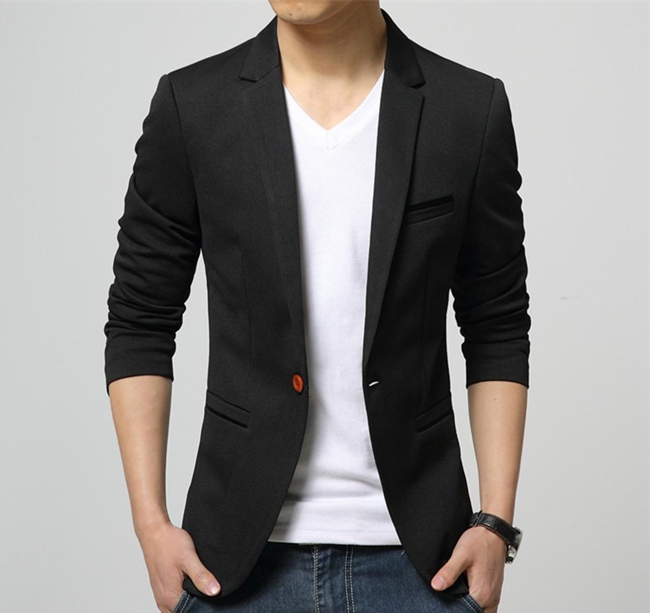 78b0e3e5d9c86 ... 2019 Fashion Party Mens slim fit cotton blazer Suit Jacket black blue  beige plus size L ...
