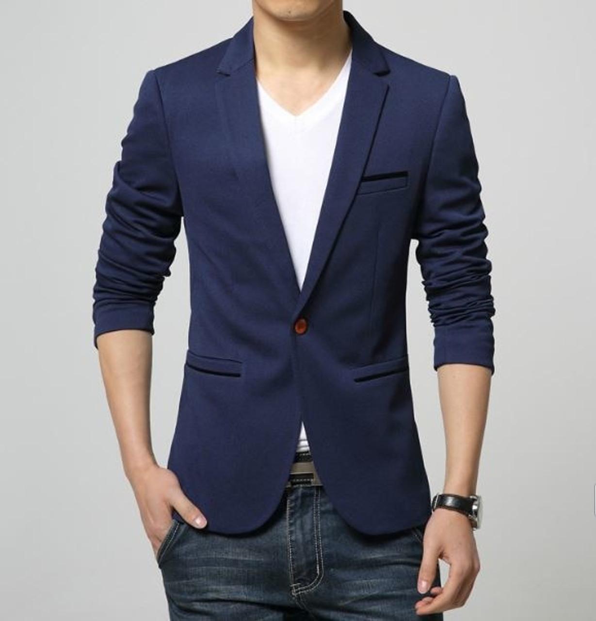 e0be41ea15 ... 2019 Fashion Party Mens slim fit cotton blazer Suit Jacket black blue  beige plus size L ...