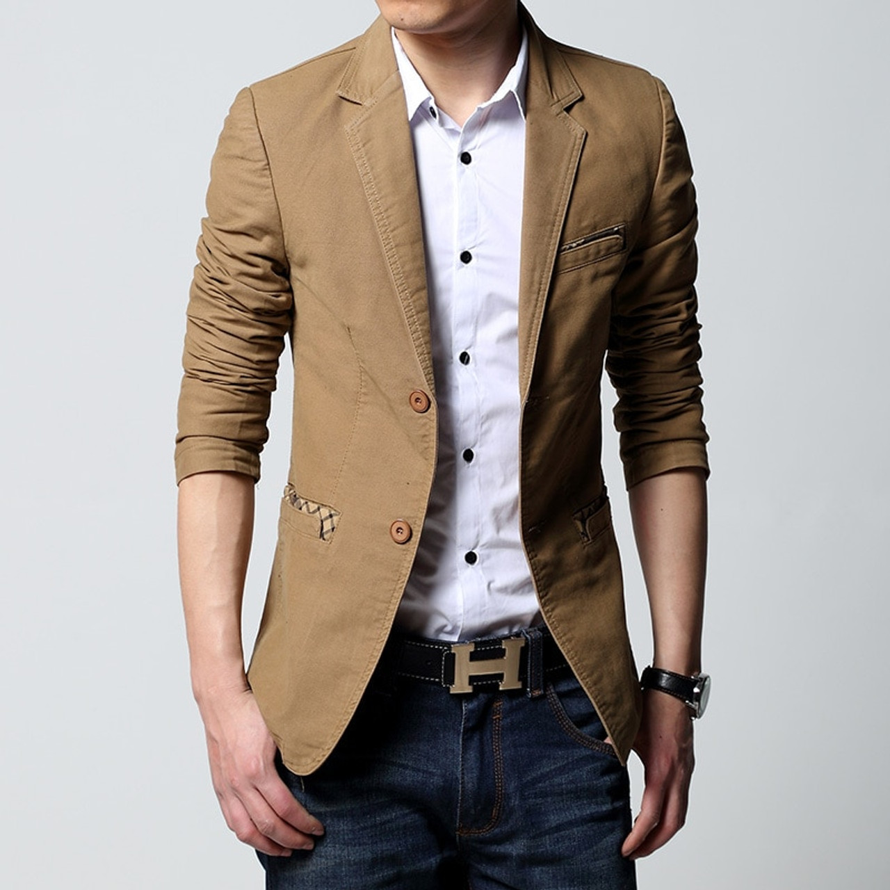 249eb8cbb0dea 2019 brand casual jacket terno masculino Men s Slim Fit blazer Black Coat  Fashion One button khaki ...