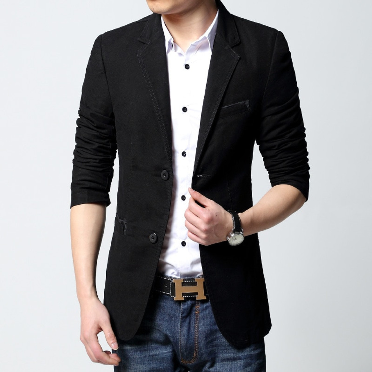 8b4fe4ad5e6 ... 2019 brand casual jacket terno masculino Men's Slim Fit blazer Black  Coat Fashion One button khaki ...