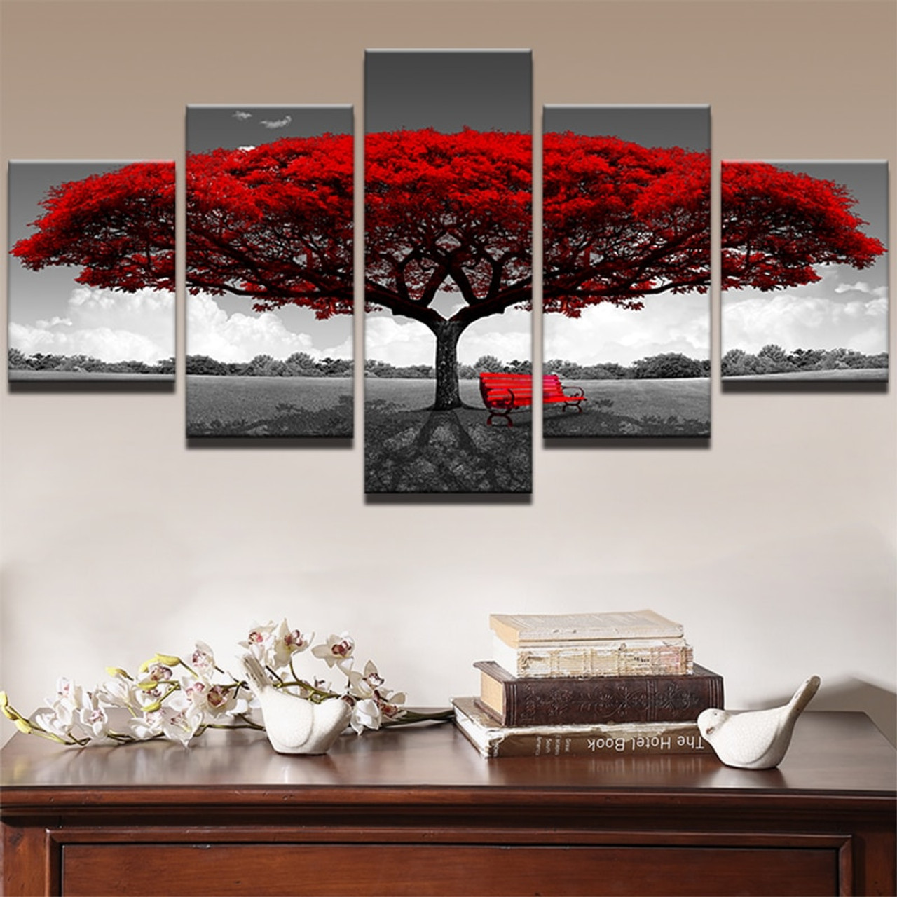 Canvas Hd Prints Posters Home Decor Living Room Wall Art 5 Pieces Red Tree Art Scenery Paintings Landscape Pictures Framework Onshopdeals Com
