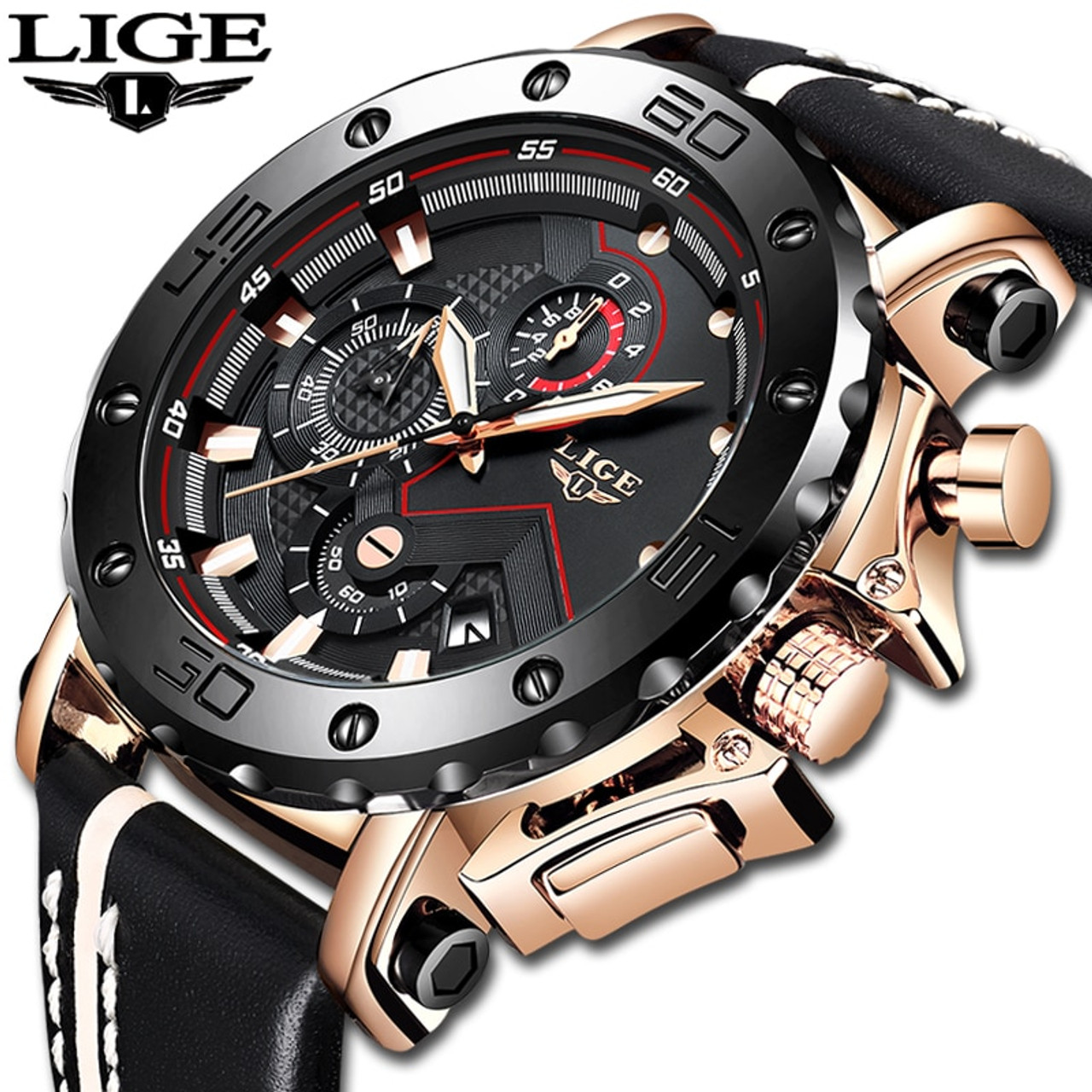 833ee28900f 2019LIGE New Fashion Mens Watches Top Brand Luxury Big Dial Military Quartz  Watch Leather Waterproof Sport ...