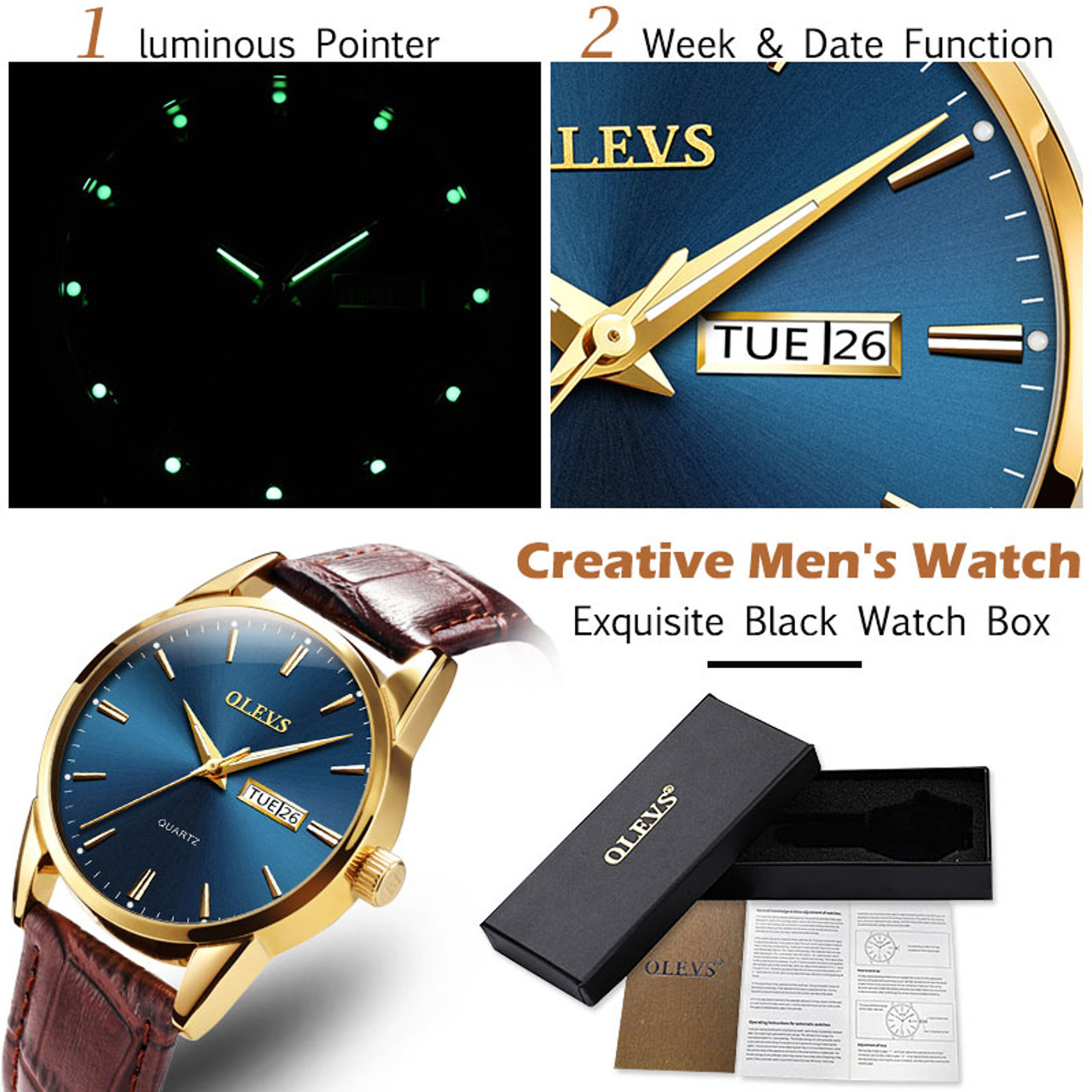 4f494d34a ... Mens Watches Top Brand Luxury OLEVS Fashion Watch Men Leather Quartz  Watch For Male Auto Date ...