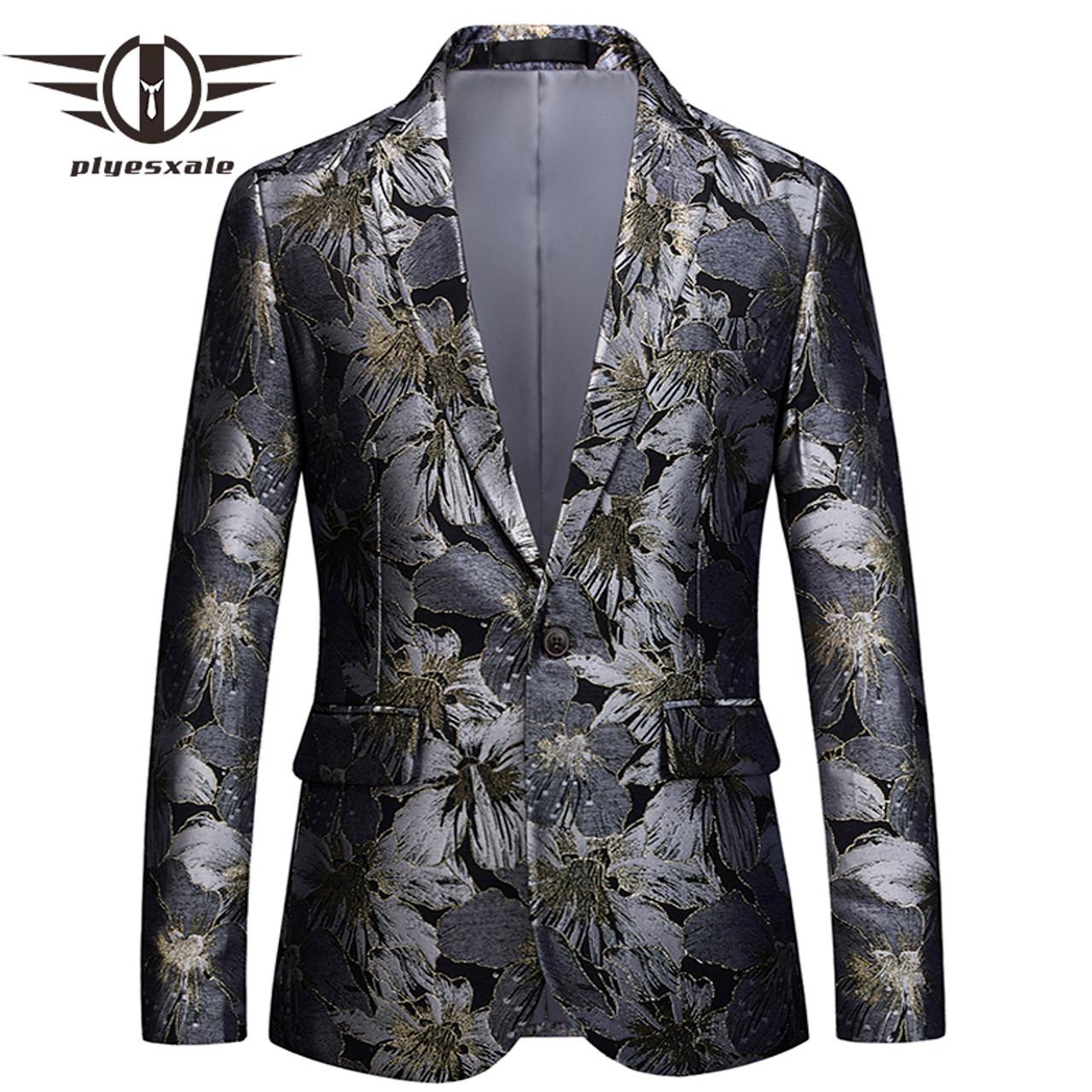 e60282077 Plyesxale Floral Blazer Men 2018 Brand Clothing Mens Blazer Slim Fit Suit  Jacket 5XL 6XL Men's Prom Party Blazers Man Coat Q393