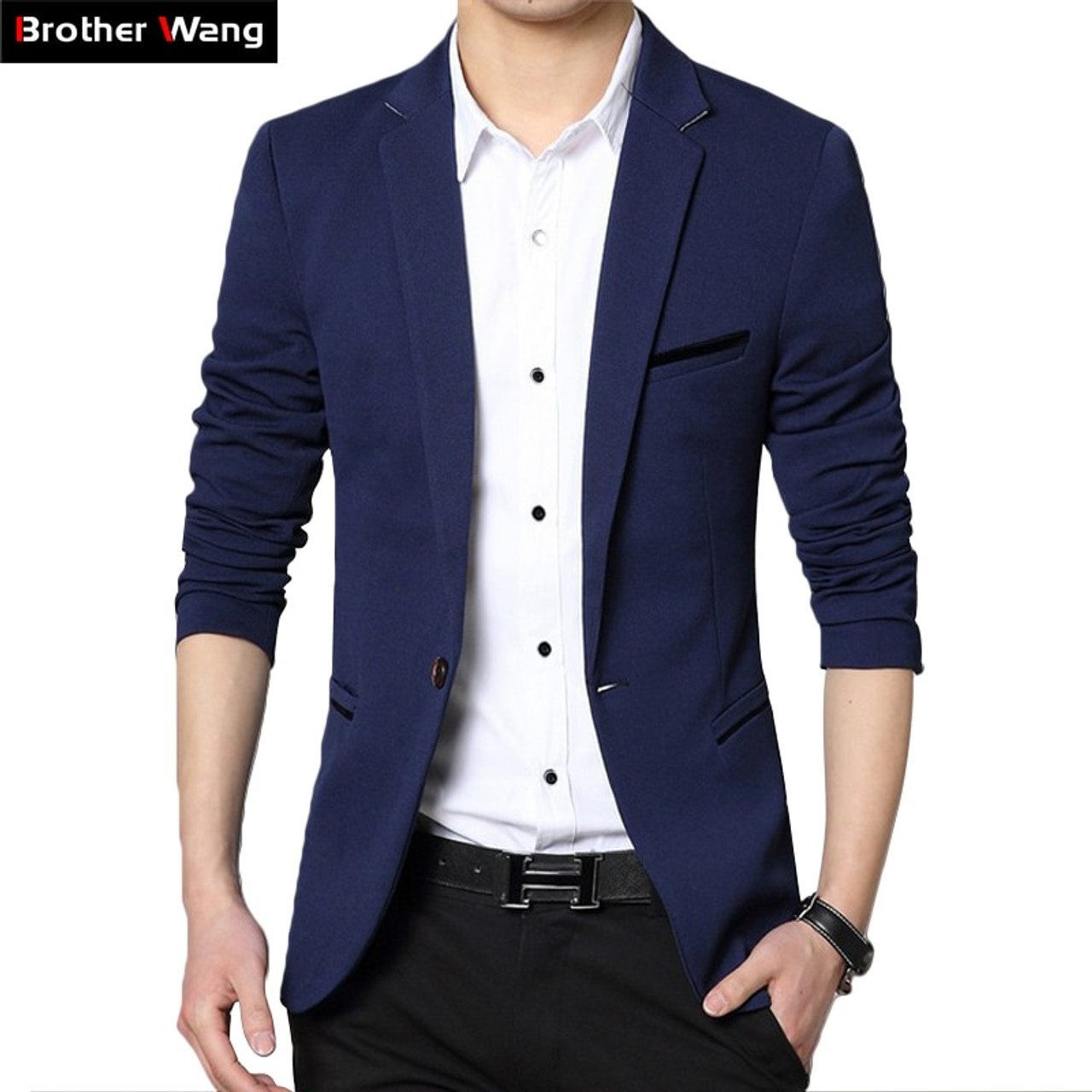 2019 Autumn New Men\u0027s Blazer Coat Business Casual Fashion Blue Slim Fit  Suit Male Brand Clothing