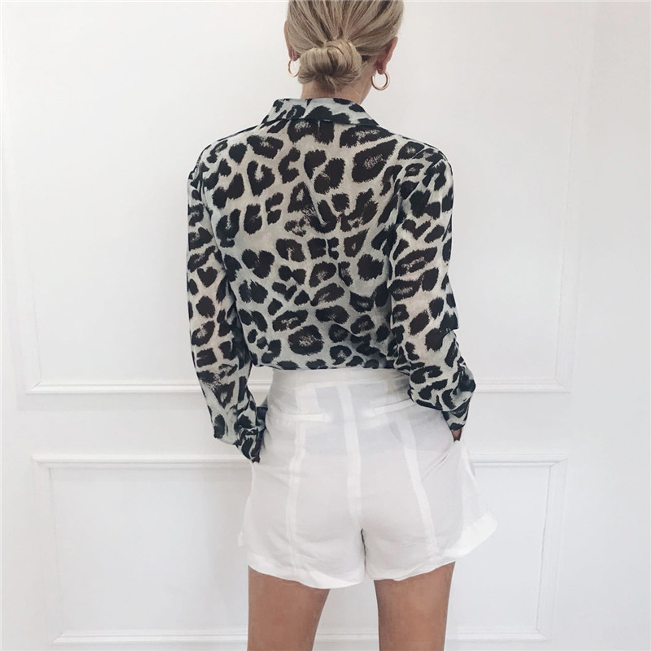 2c729876 ... Chiffon Blouse Long Sleeve Sexy Leopard Print Blouse Turn Down Collar  Lady Office Shirt Tunic Casual ...