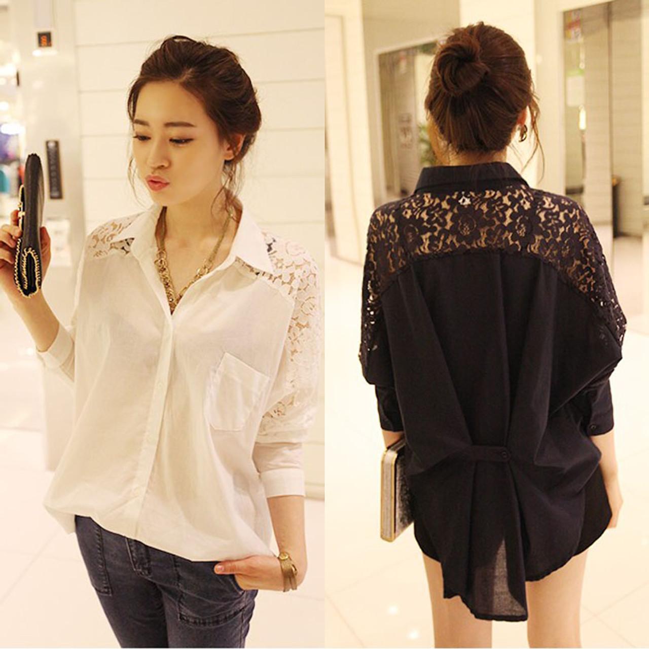 ad316a79a39 long sleeve black white plus size ladies tops Fashion women blouses 2019  hollow .