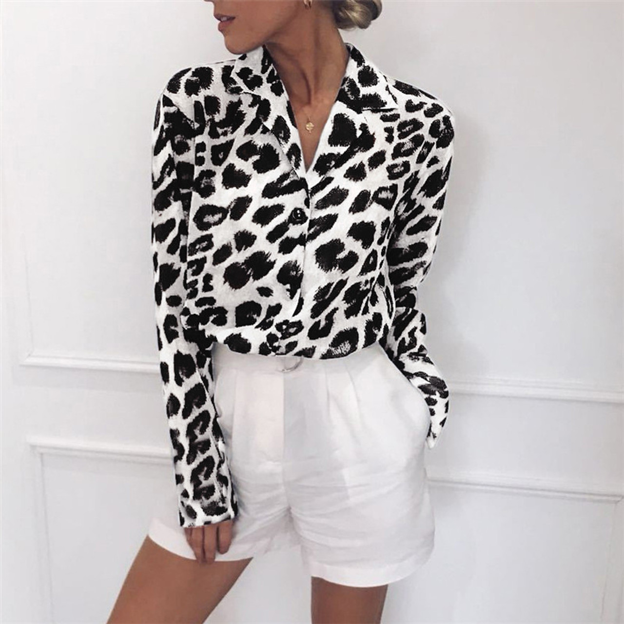628e6c89790 2019 Women Blouse Leopard Print Shirt Long Sleeve Top Loose Blouses Plus  Size Chiffon Shirt Camisa Feminina Clothing - OnshopDeals.Com