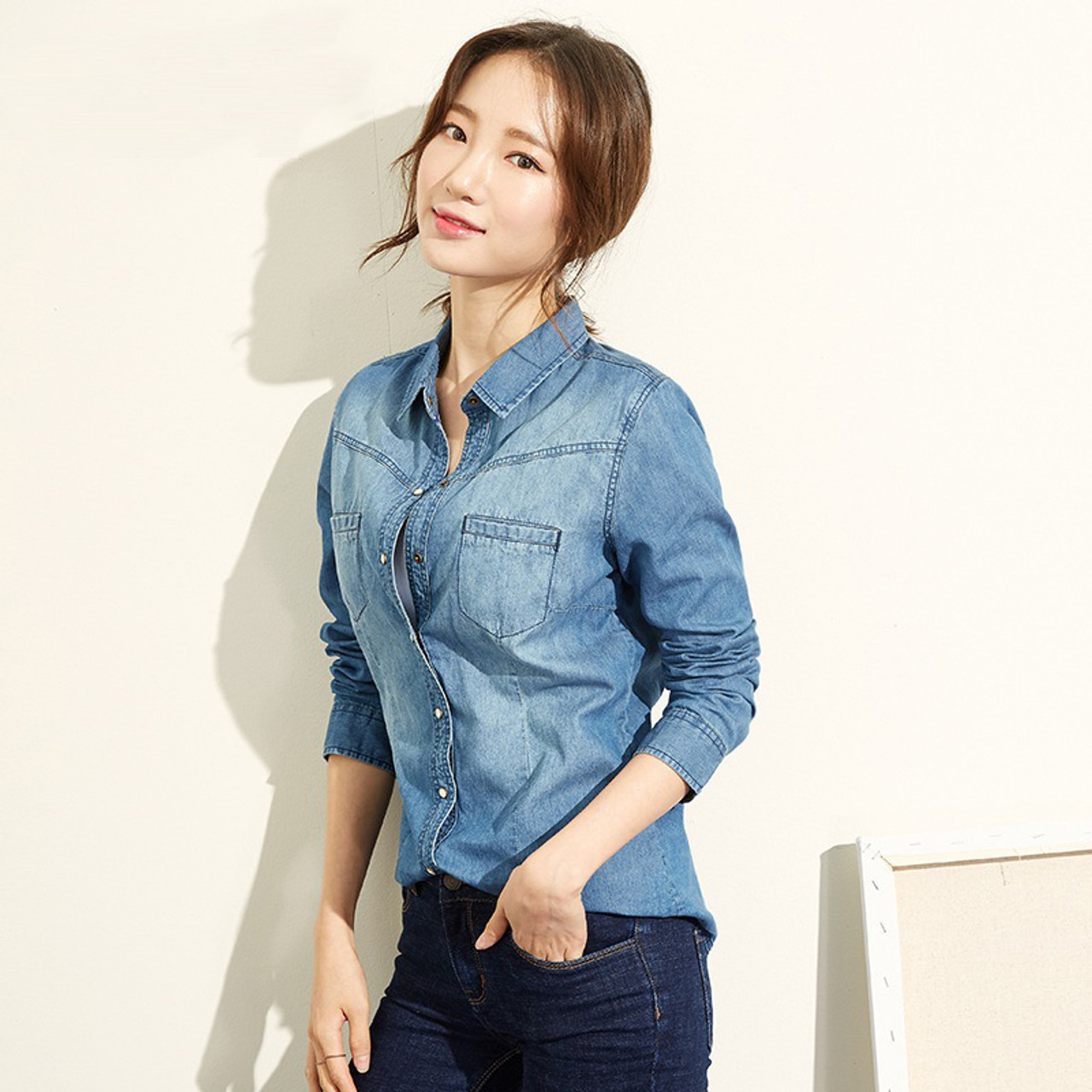 8ba44bbe2e6 ... Slim Fit High Quality Plus Size Jeans Shirt A690 in Casual Shirts from  Men s Source · Fashion Long Sleeves Casual Denim Shirt Women 2018 Snap  Button
