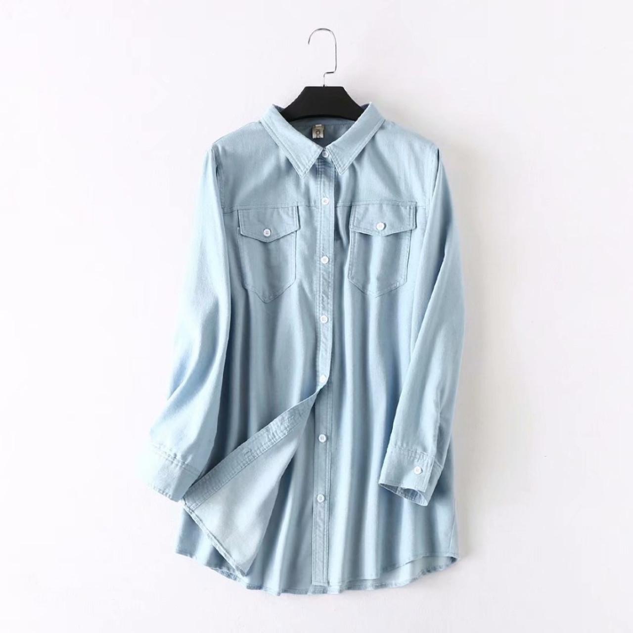 8264024fde5368 Womens Plus Size Long Sleeve Denim Shirts – DACC