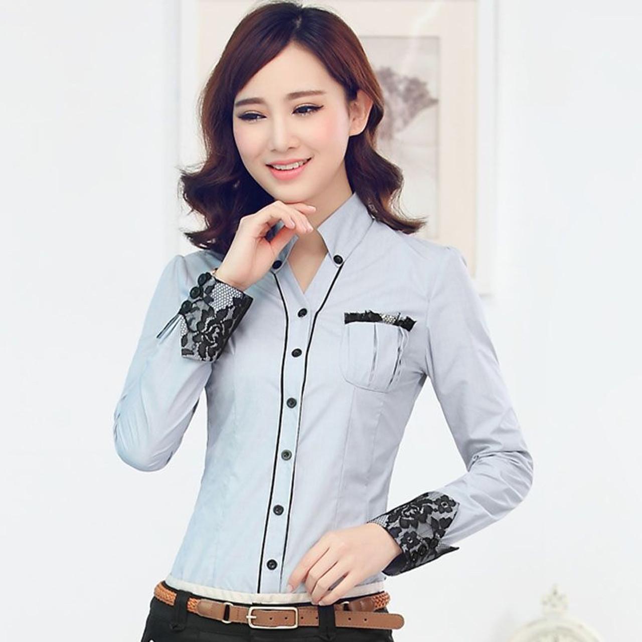 504622e367 Formal women long sleeve shirt 2019 New slim elegant blouses shirts ladies  white blue gray office work plus size clothes tops