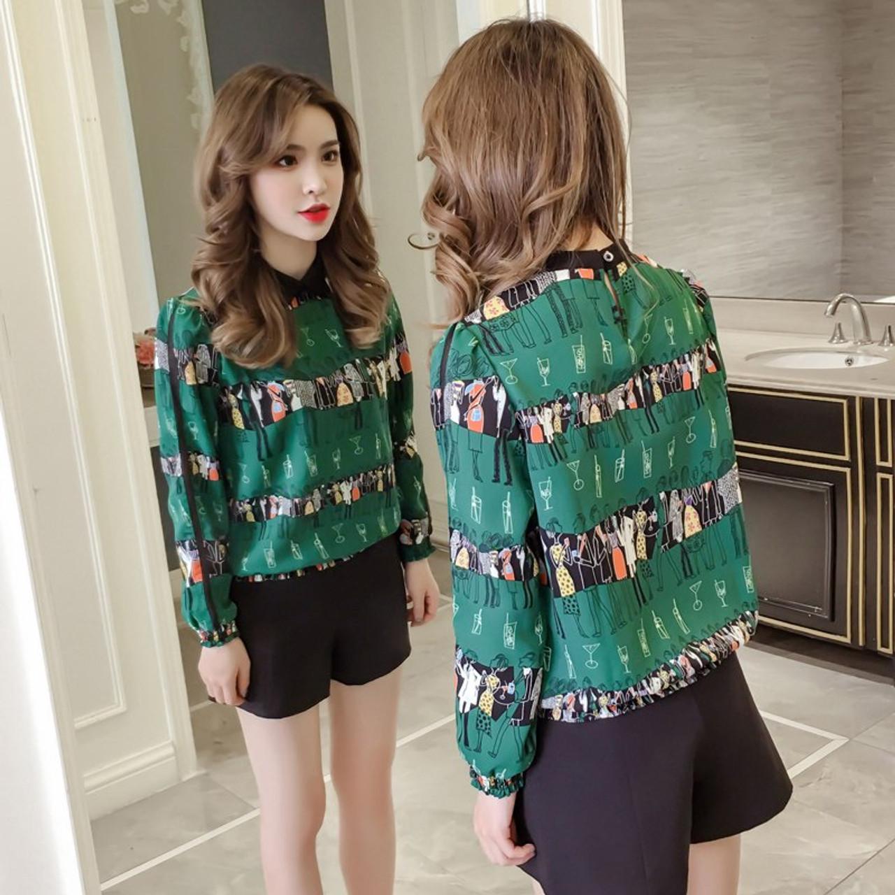 b30243c631a ... 2018 print women blouse plus size women s chiffon long sleeve womens  tops and blouses loose blusa ...