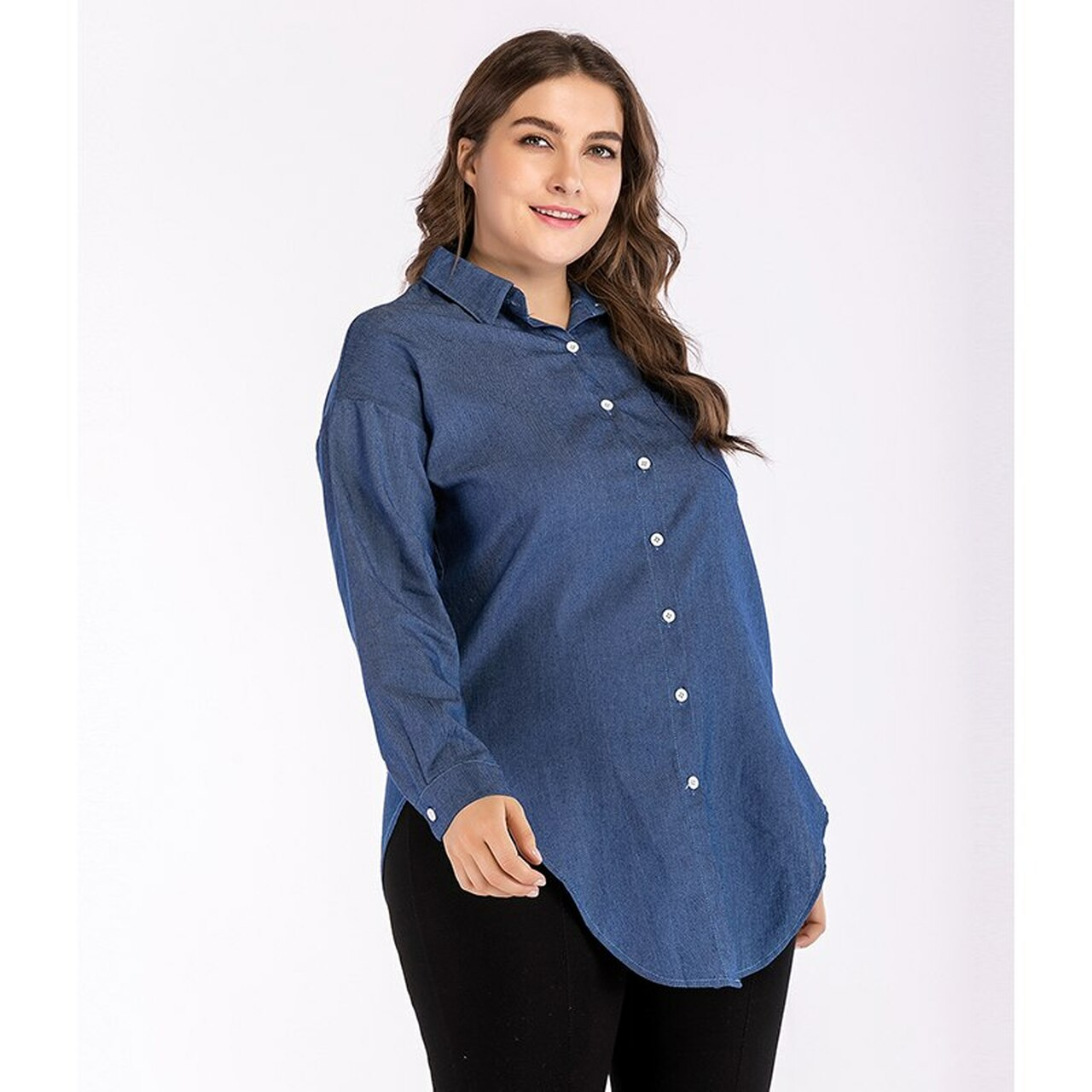 db4ee59c5c ... Blue Irregular Plus Size Denim Shirt Female 2018 Autumn Women Vintage  Long Sleeve Jeans Blouses Outerwear ...