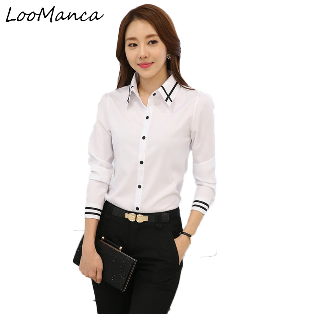 b06356c10b1e7 2018 New Chiffon blouses shirts Women Blue White Shirt OL Office Lady Full  sleeves Work Wear Tops Plus Size Blusas Femininas