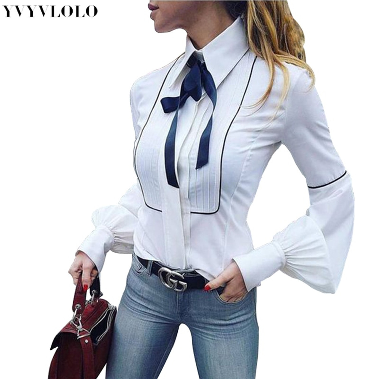 Womens Long Sleeve Casual Bow Tie Blouse Ladies Lapel Slim Fit Tops T-Shirts USA