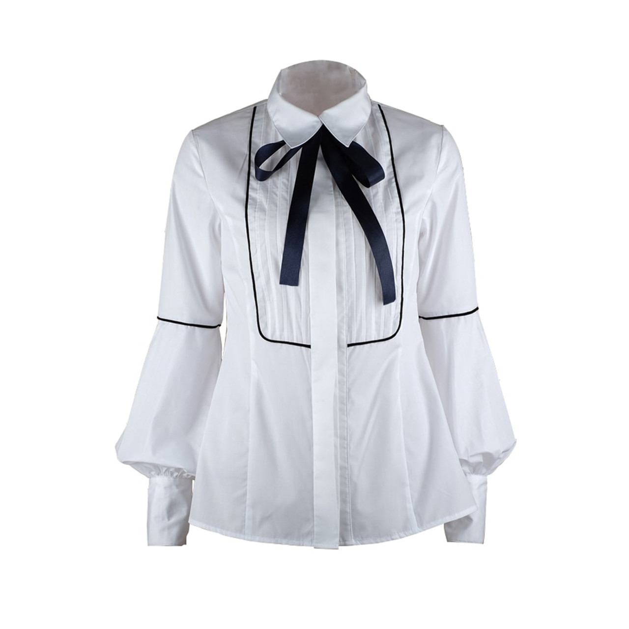 6971f0aa504 ... YVYVLOLO 2018 New Elegant Bow Tie womens tops and blouses White Blue  Tunic Button Down Shirts ...