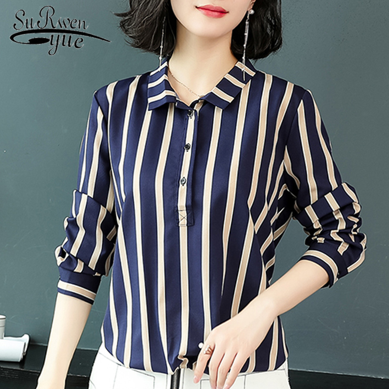 f2195a34 Long Sleeve Striped OL Bouse Fashion Woman Blouses 2019 plus size 3XL  Chiffon Blouse Shirt Women ...