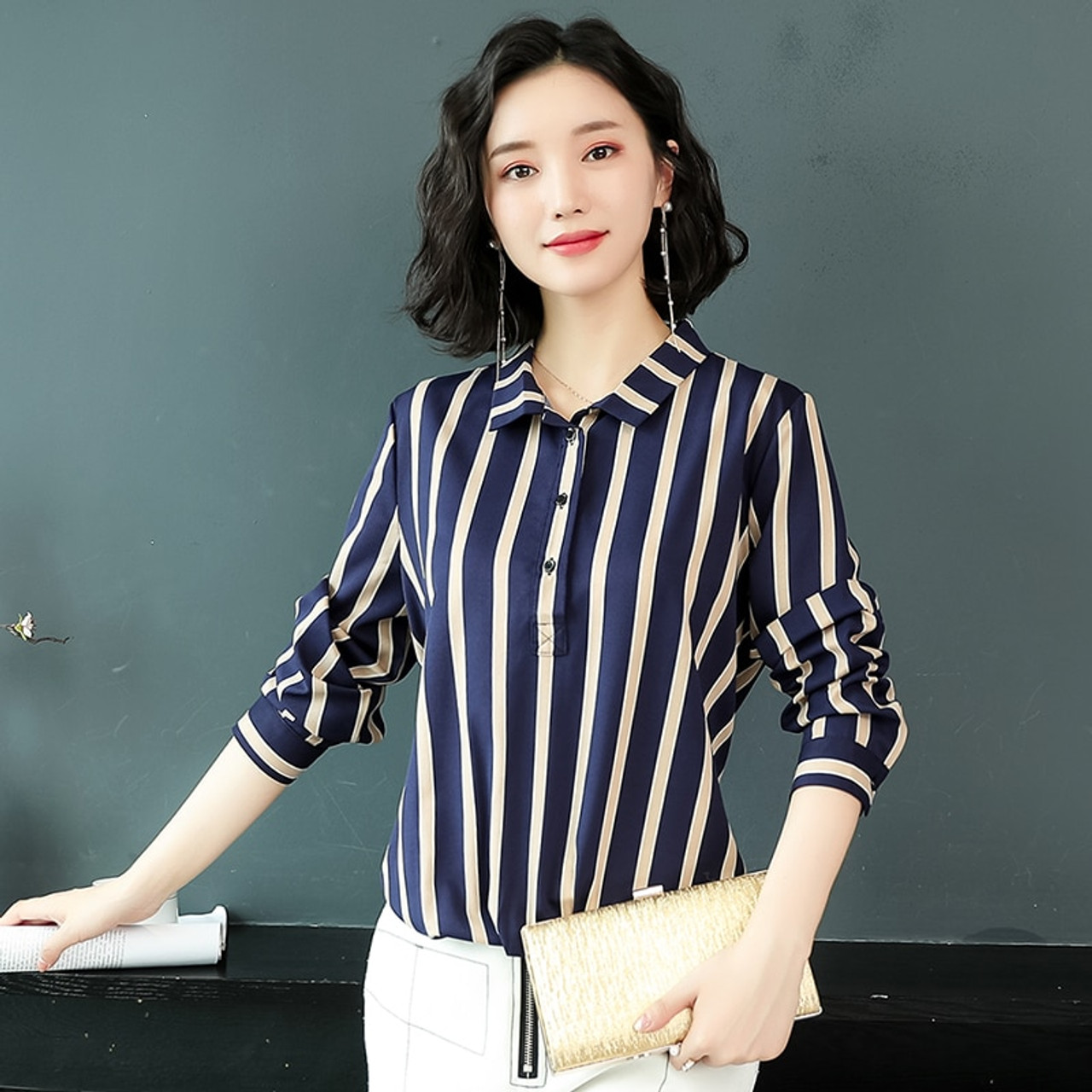 34448e5628104f ... Long Sleeve Striped OL Bouse Fashion Woman Blouses 2019 plus size 3XL Chiffon  Blouse Shirt Women ...