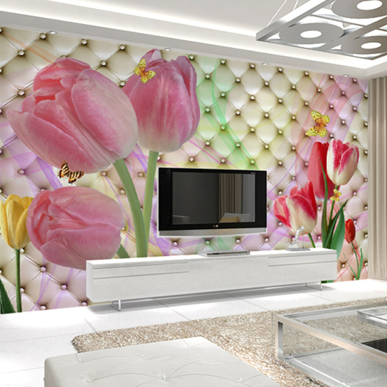 Fashion Interior Flower Design 3D Mural Wallpaper Modern Soft Pack ...