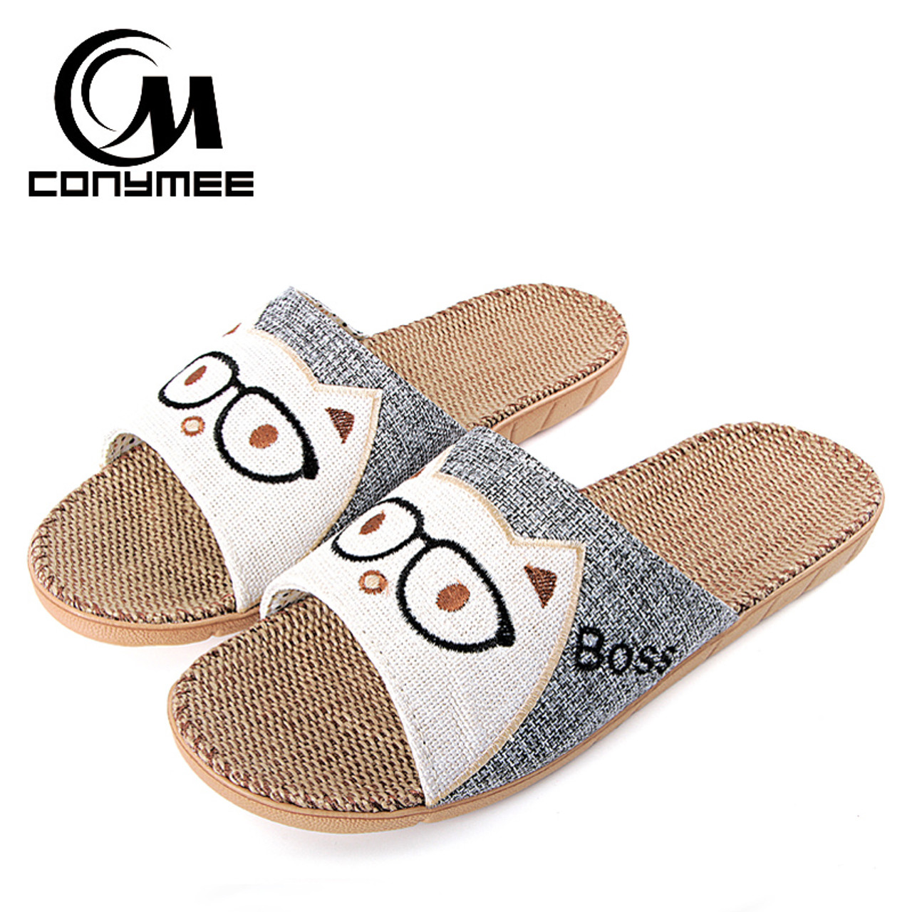 bf55cbbd100ed ... CONYMEE Summer Shoes Sandals Men 2018 Fashion Indoor Home Slippers Flax  Zapatos Hombre Flat Shoe Slipper ...