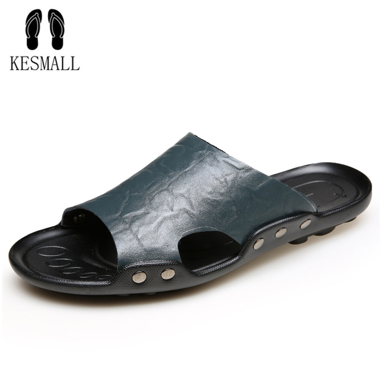 d8e457853 KESMALL 2018 New Men s Flip Flops Genuine Leather Slippers Summer Fashion  Beach Slippers Sandals Shoes For ...