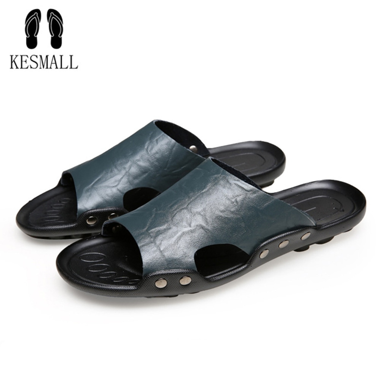 a49559ef1 ... KESMALL 2018 New Men s Flip Flops Genuine Leather Slippers Summer  Fashion Beach Slippers Sandals Shoes For ...