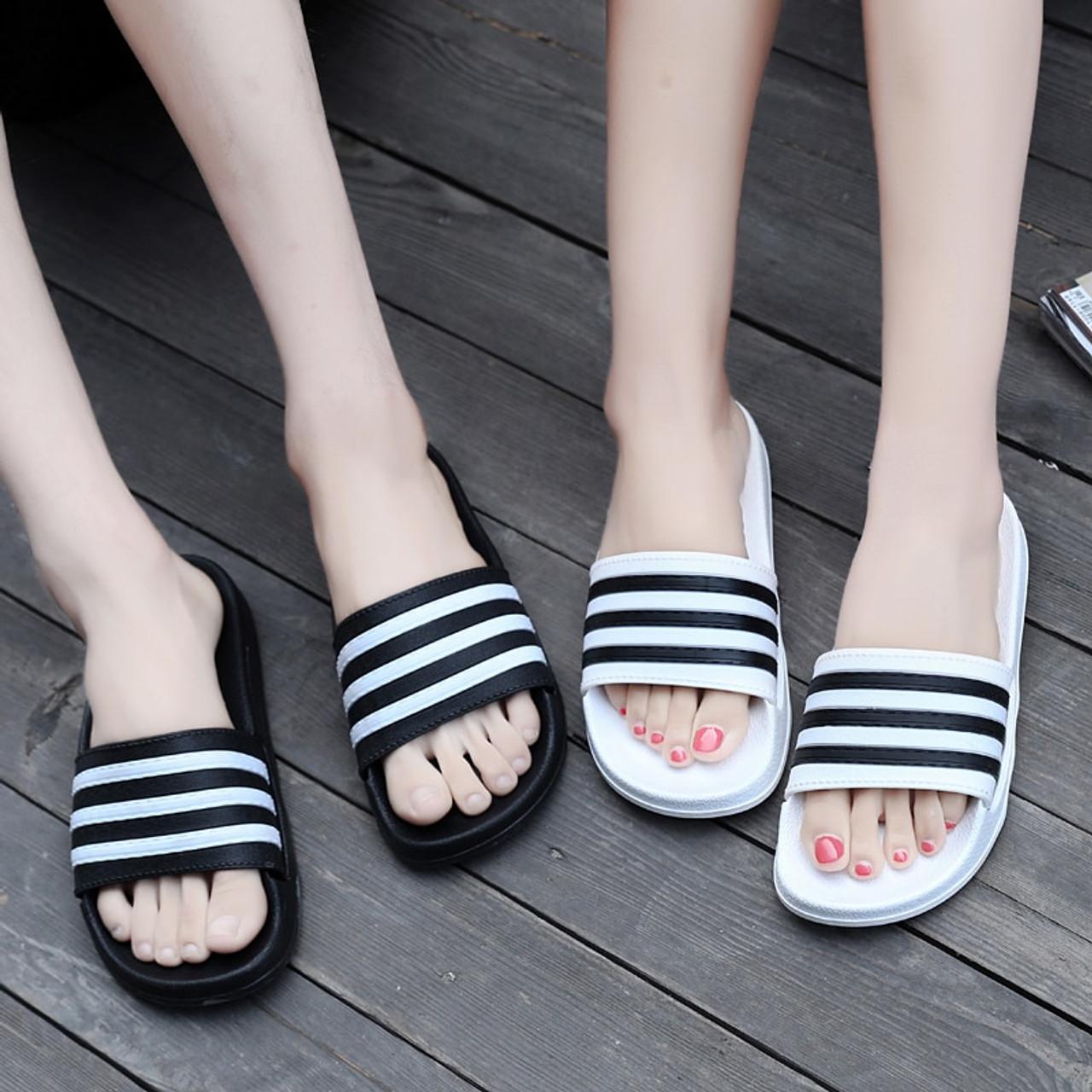 e5e0b25aa95 ... 2018 New Summer Beach Slippers Men Women Fashion Stripe Flat Bath Home  Slipers Male Shoes Summer ...