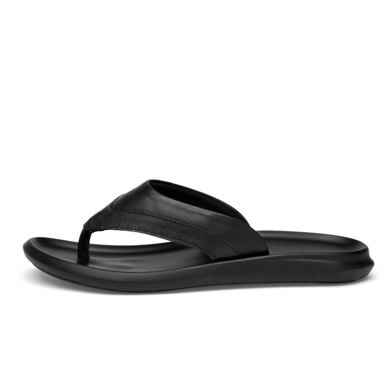 f47d79cac ... Brand 2018 New Men s Flip Flops Genuine Leather Slippers Summer Fashion  Beach Sandals Shoes Men Shoes ...