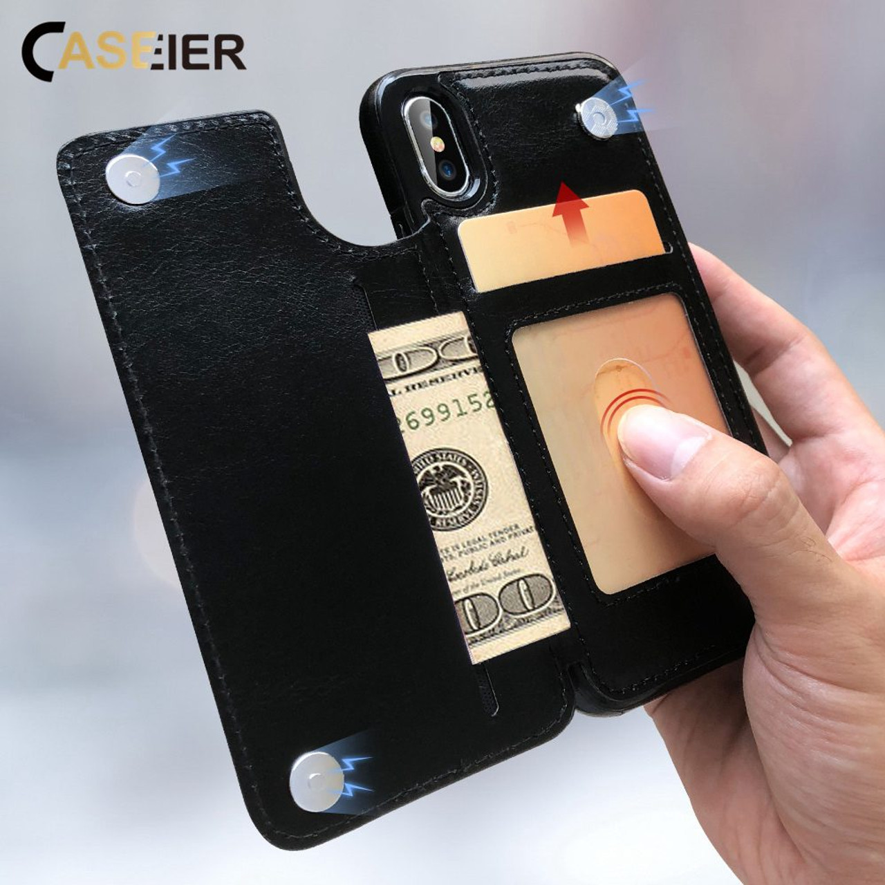 72e43712ec7 CASEIER PU Leather Phone Case For iPhone X XR XS Max 8 7 6s 6 5s 5 ...