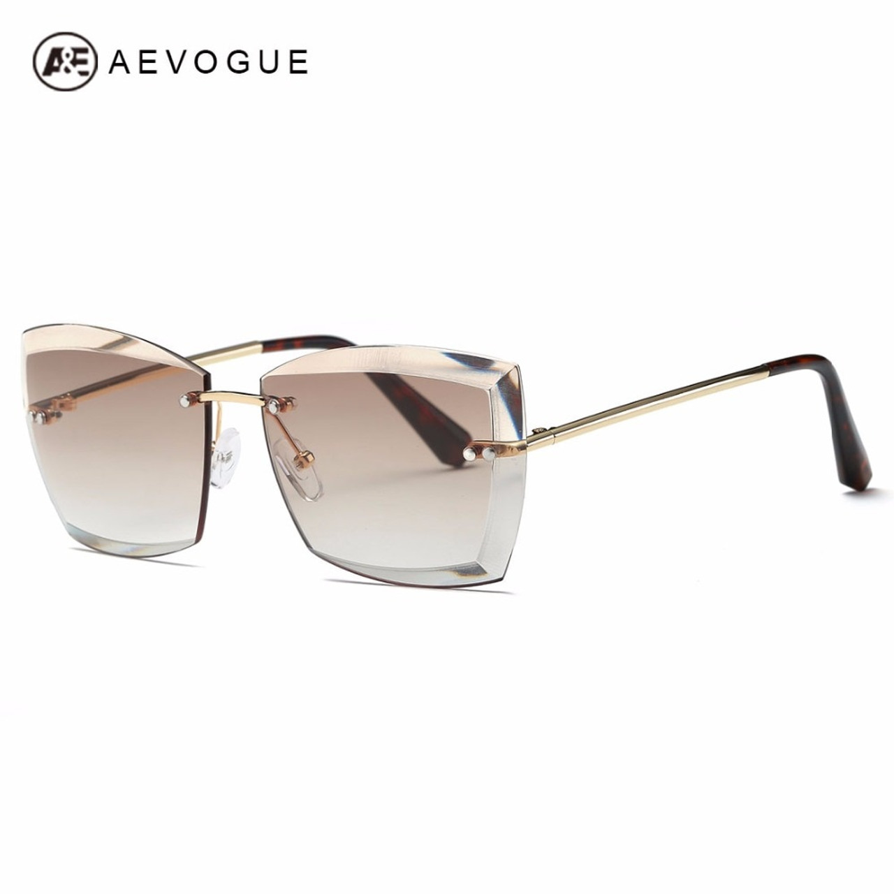 fef2c0b30318f AEVOGUE Sunglasses For Women Square Rimless Diamond cutting Lens Brand  Designer Fashion Shades Sun Glasses AE0528 ...