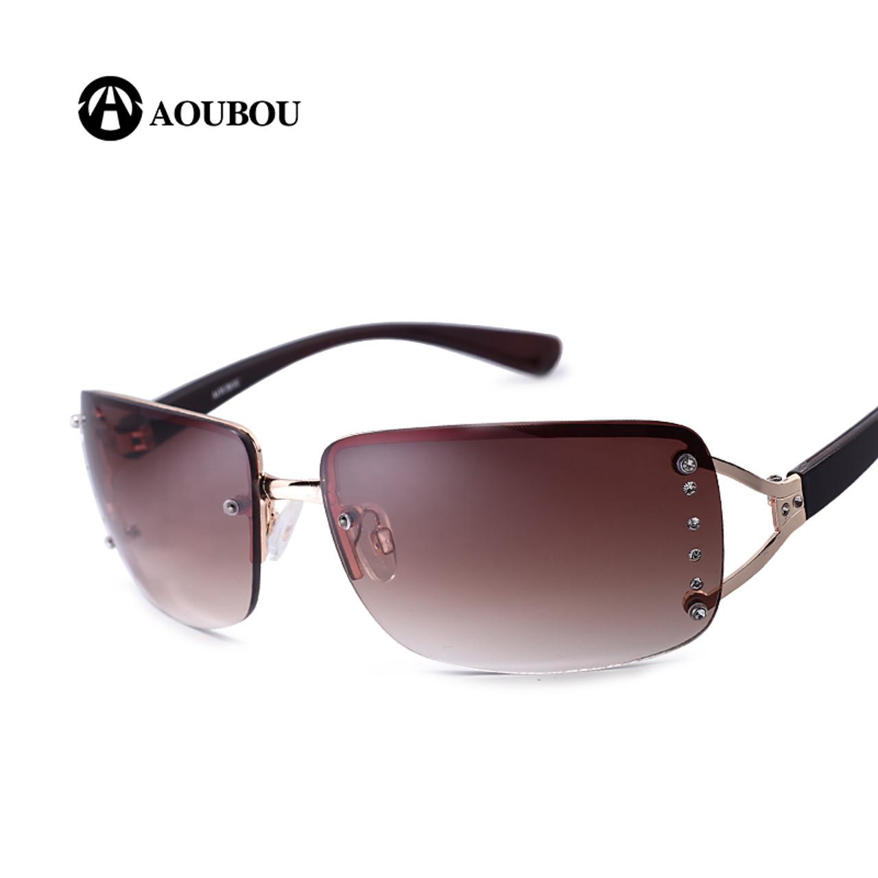 f3bd7d7818e ... AOUBOU 2019 Vintage Rimless Sunglasses Women Luxury Diamond Design  White Square Frame Brand Sun Glasses For ...