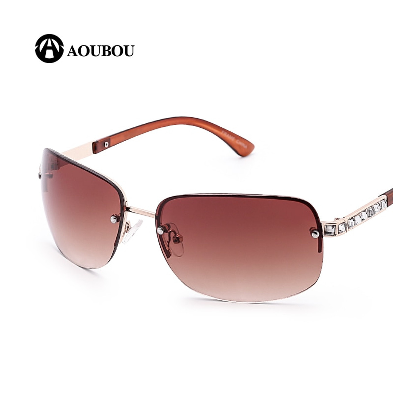 ba64650dbca ... AOUBOU Brand Designer Luxury Diamond Square Frame Sunglasses Women  Transparent Mercury Len Vintage White Sunglasses UV400 ...