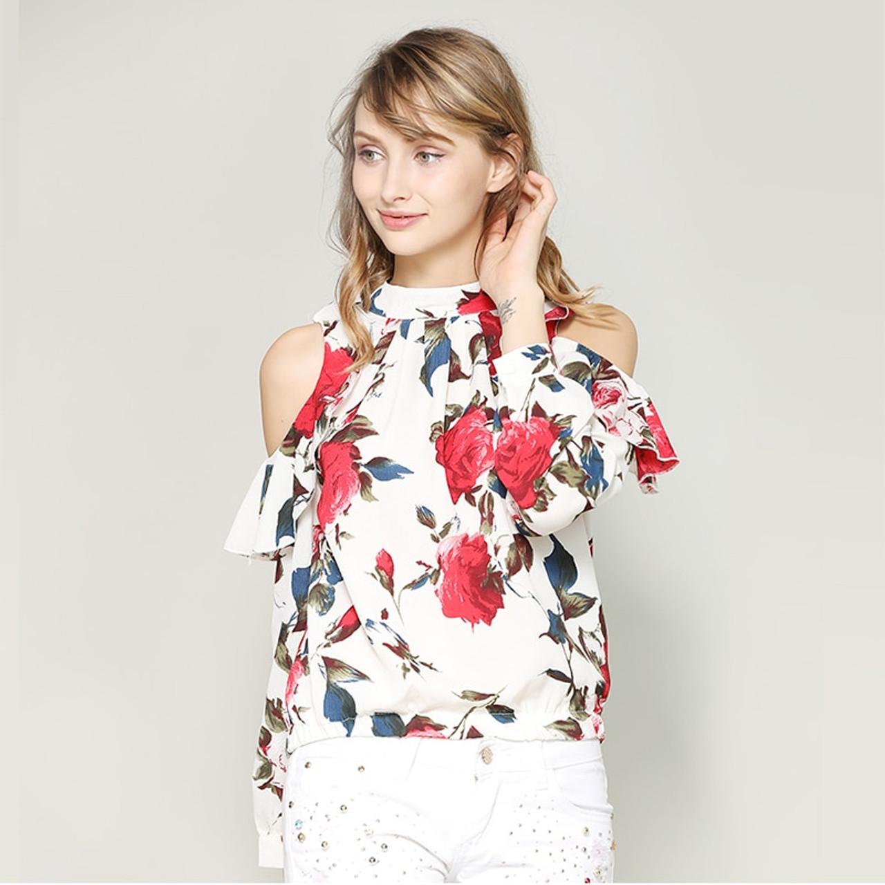 4161bb6758950 nvyou gou Women Vintage Floral Print Fashion Blouse Chiffon Cold Shoulder  Top Puff Long Sleeve Ruffle Blouse New 2018 Streetwear