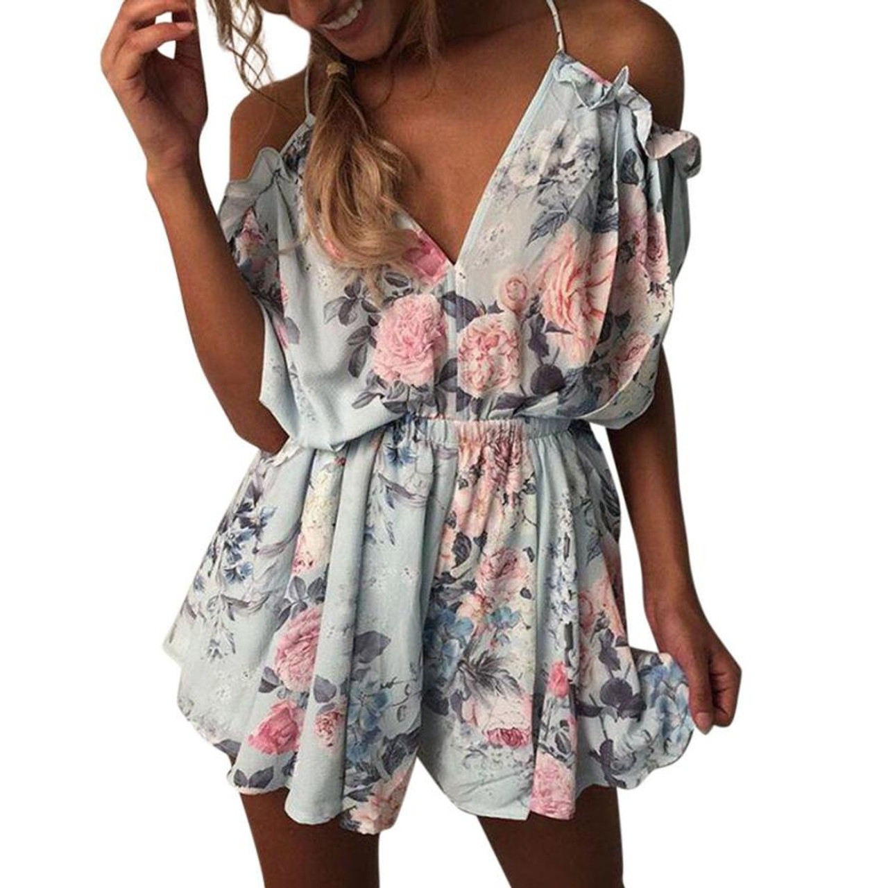 95f0ee512c1e Summer Chiffon Jumpsuit Women Sexy Off Shoulder V-Neck Floral Printed  Rompers Ladies Beach Style ...