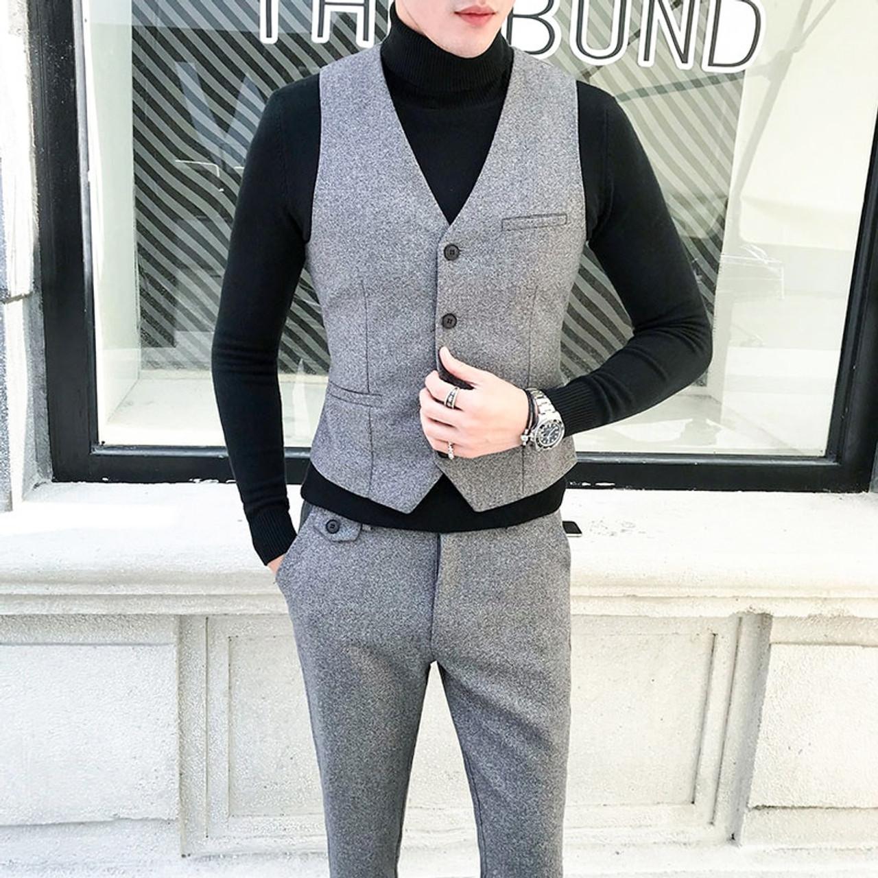 2018 Large Size 5xl Autumn And Winter Men Suits Pure Color Fashion