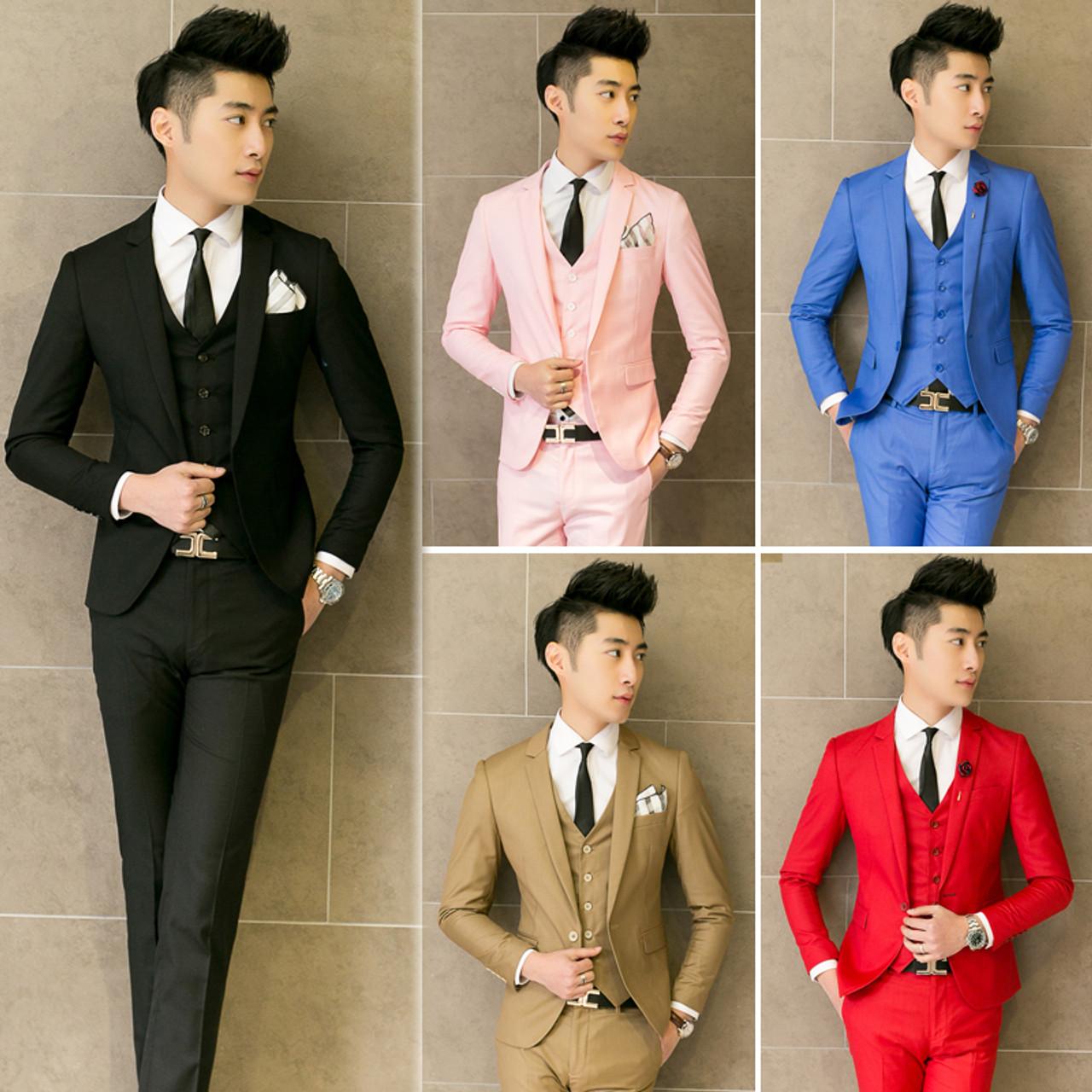 ae3d03f47d ( Jacket + Vest + Pants ) New 2019 Mens Boutique Pure Color Fashion Groom  Wedding ...