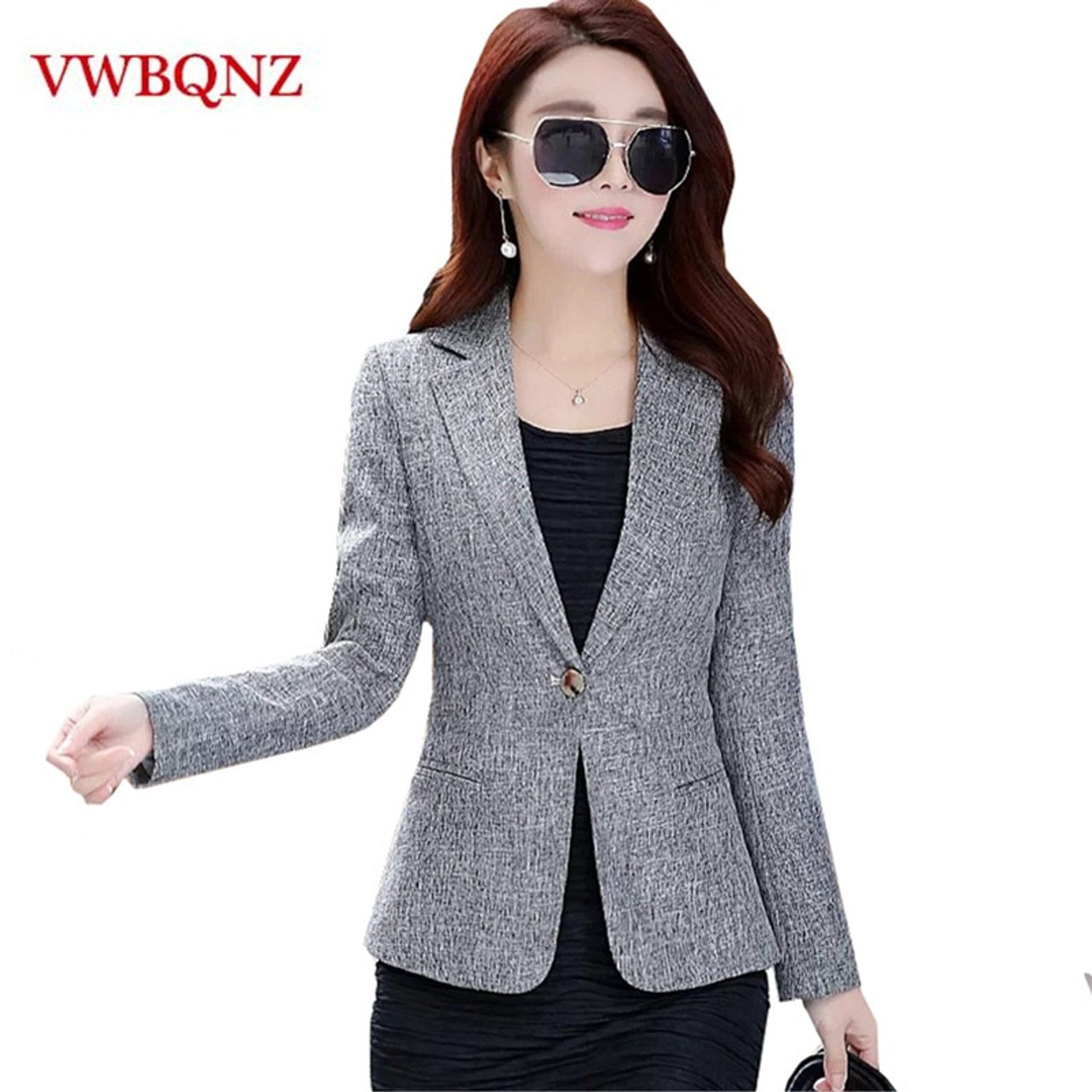 d89bcf324a150 2018 New Spring Autumn Plus Size 4XL Womens Business Suits One Button  Office Female Blazers Jackets Short Slim Blazer Women Suit